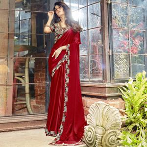 Groovy Red Colored Casual Printed Chiffon Saree