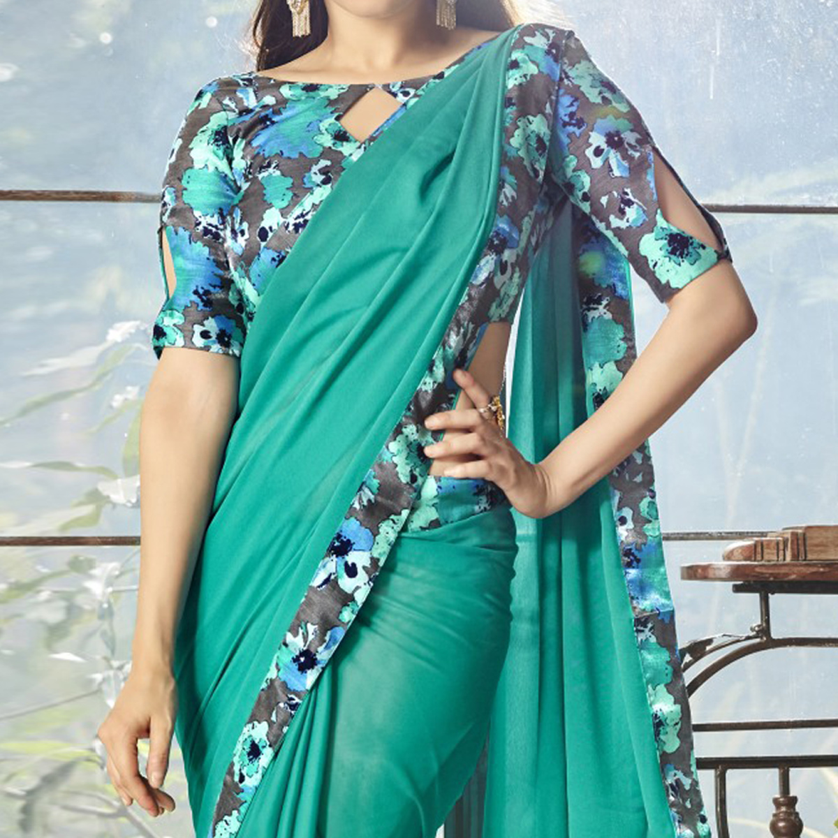 Prominent Turquoise Green Colored Casual Printed Chiffon Saree