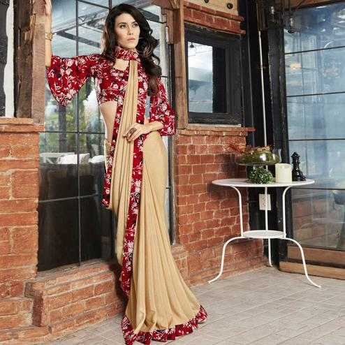 Capricious Beige Colored Casual Printed Chiffon Saree