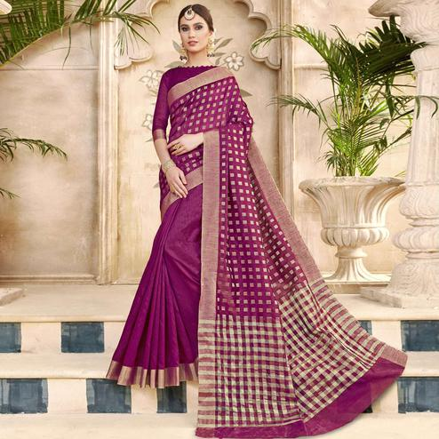 Impressive Violet Colored Festive Wear Woven Silk Half-Half Saree