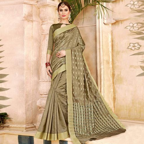 Adorning Chiku Colored Festive Wear Woven Silk Half-Half Saree