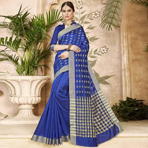 Gleaming Blue Colored Festive Wear Woven Silk Half-Half Saree