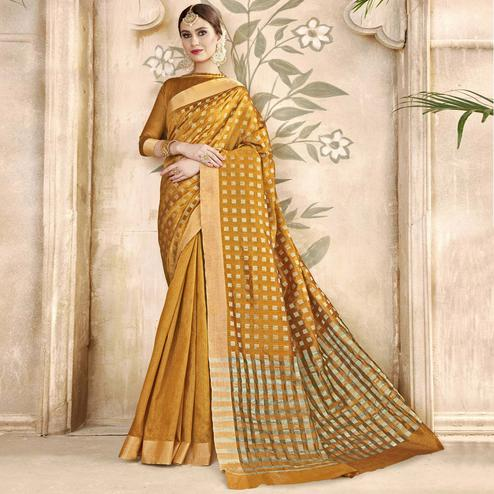 Mesmeric Mustard Yellow Colored Festive Wear Woven Silk Half-Half Saree