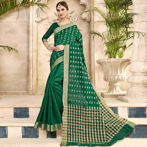 Magnetic Green Colored Festive Wear Woven Silk Half-Half Saree