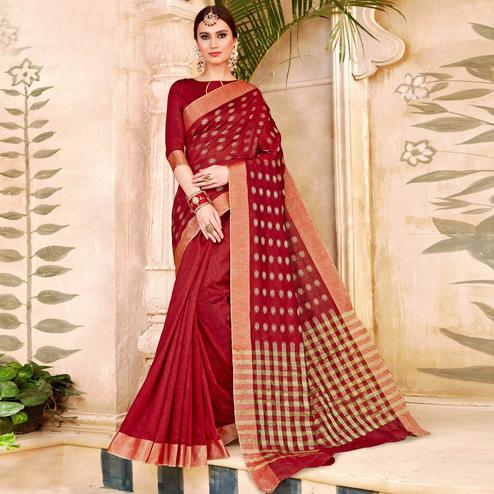 Classy Red Colored Festive Wear Woven Silk Half-Half Saree