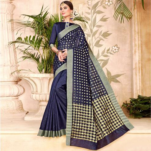 Lovely Navy Blue Colored Festive Wear Woven Silk Half-Half Saree