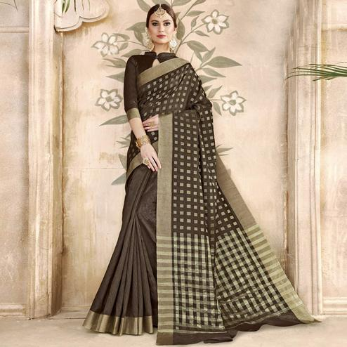 Exceptional Dark Coffee Colored Festive Wear Woven Silk Half-Half Saree