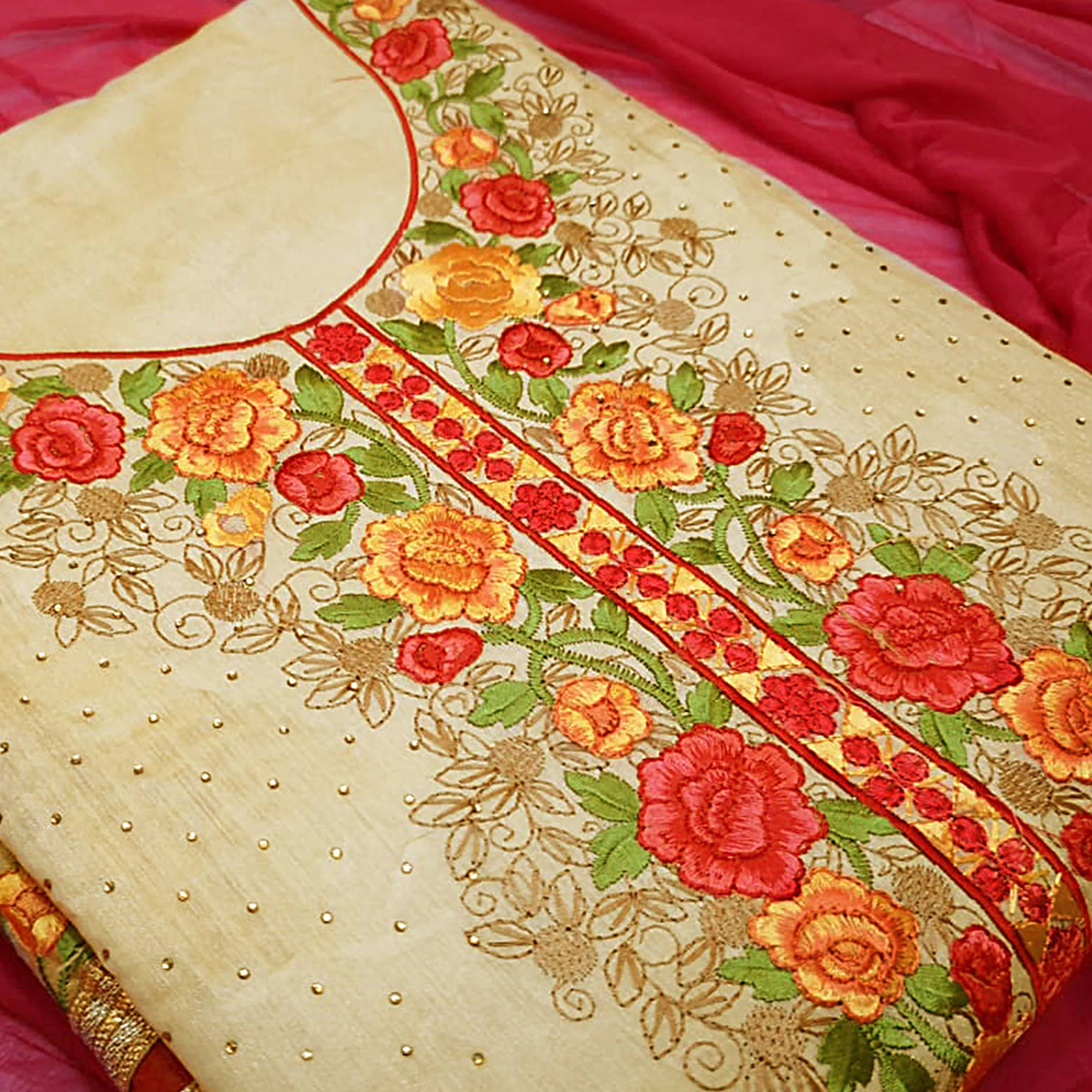 Gorgeous Red-Beige Colored Partywear Embroidered Modal Dress Material