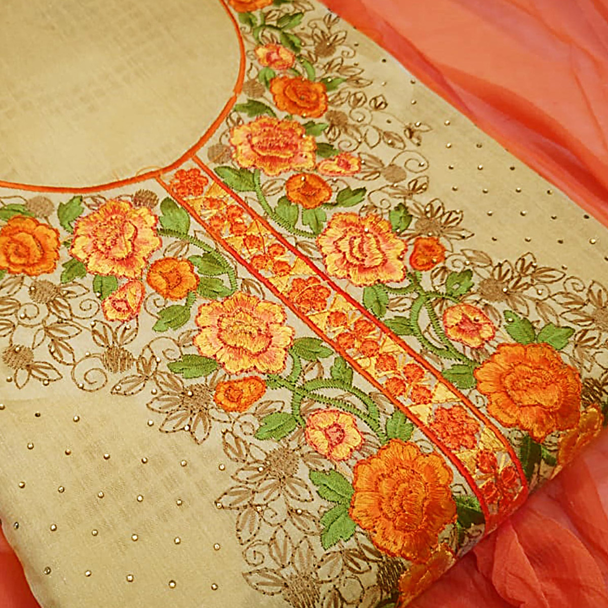 Marvellous Orange-Beige Colored Partywear Embroidered Modal Dress Material