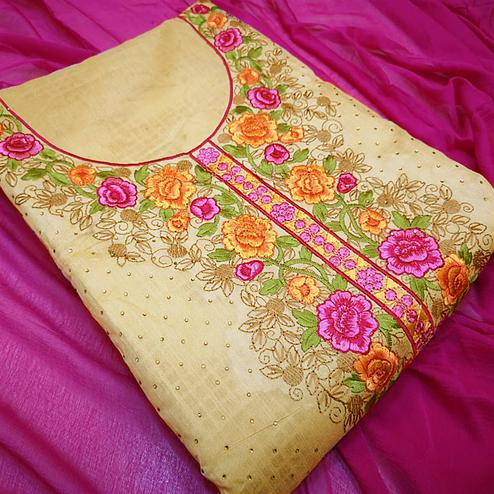 Desirable Pink -Beige Colored Partywear Embroidered Modal Dress Material