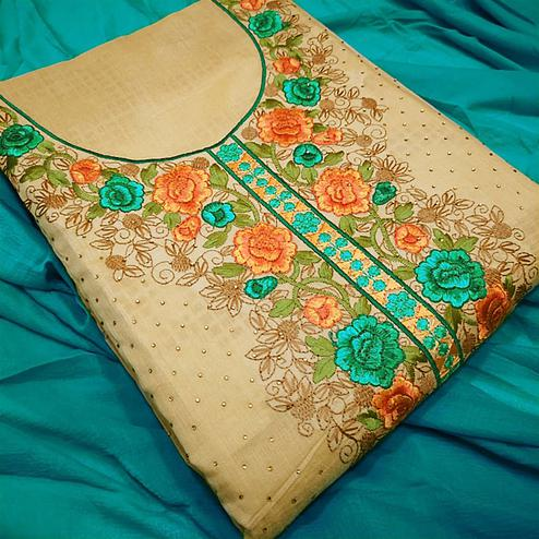Stunning Turquoise Green-Beige Colored Partywear Embroidered Modal Dress Material