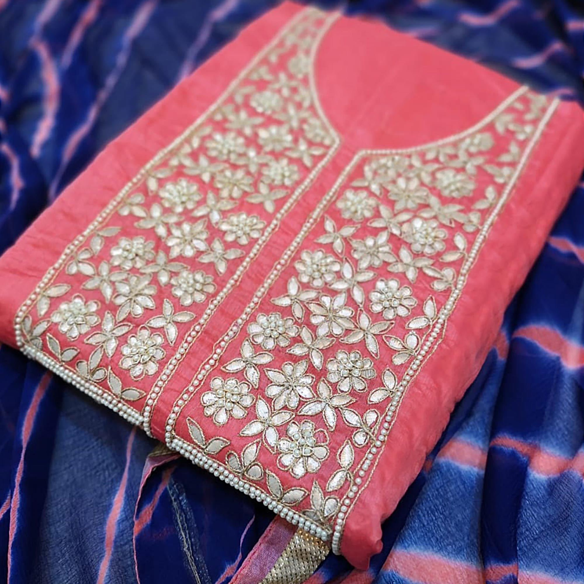 Pretty Pink Colored Partywear Embroidered Modal Dress Material