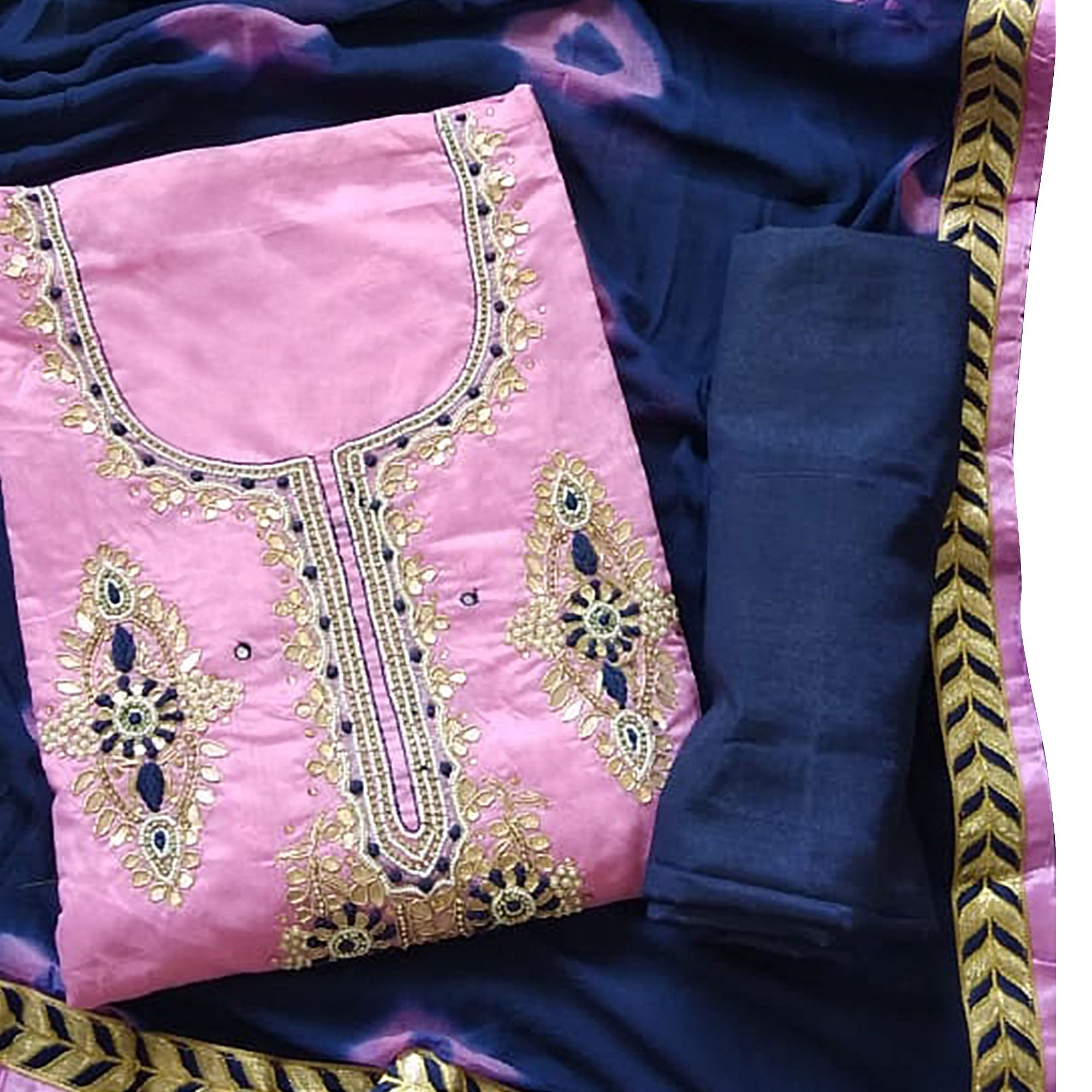 Appealing Pink Colored Partywear Embroidered Modal Material
