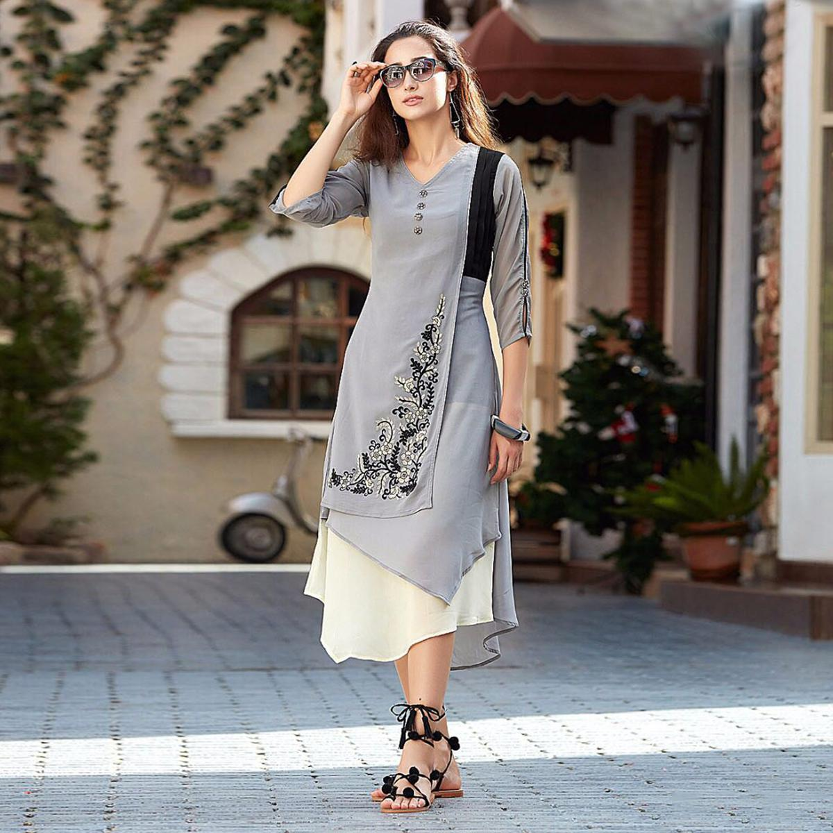 Stylish Gray Designer Embroidered Georgette Kurti