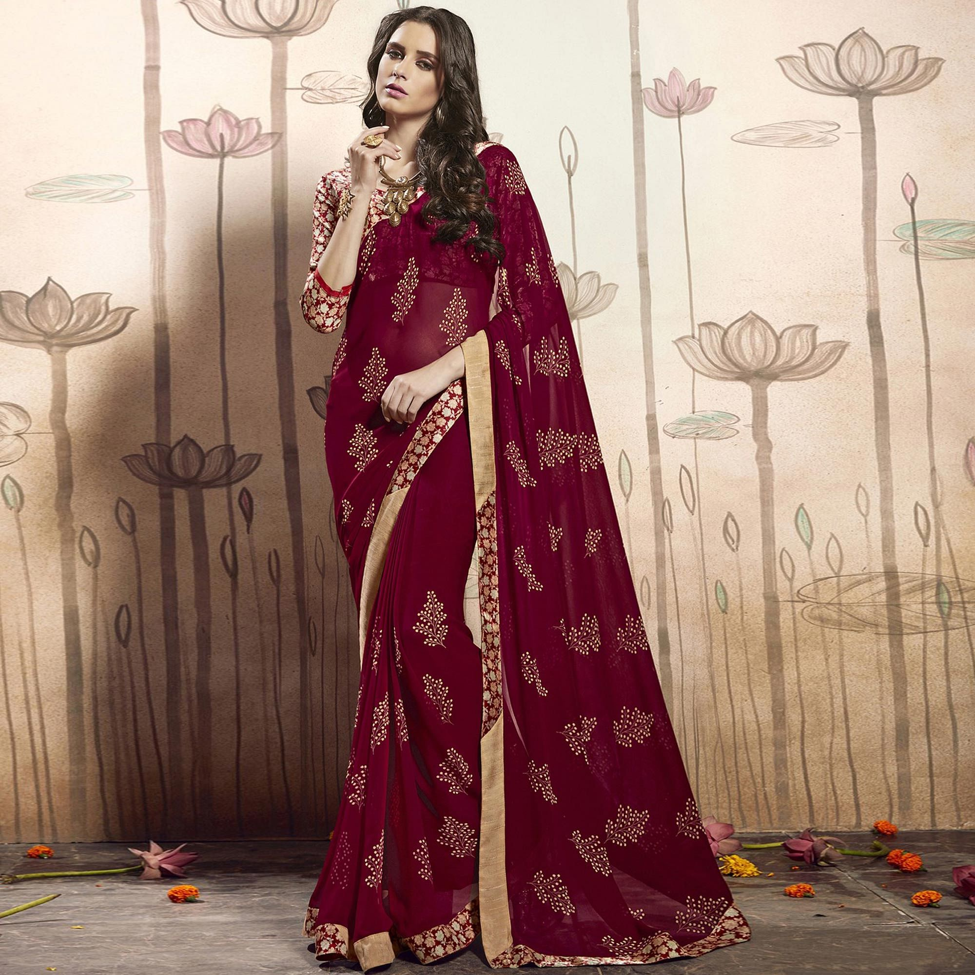 Gleaming Wine Colored Casual Printed Art Silk Saree