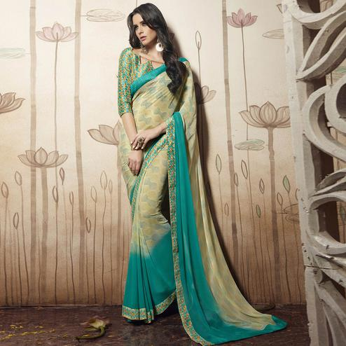 Innovative Beige Colored Casual Printed Art Silk Saree