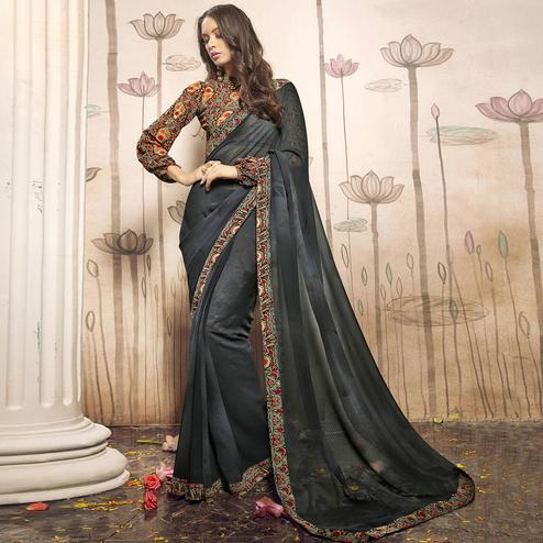 Impressive Gray Colored Casual Wear Art Silk Saree