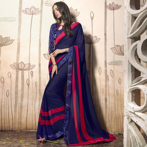 Breathtaking Navy Blue Colored Casual Wear Art Silk Saree