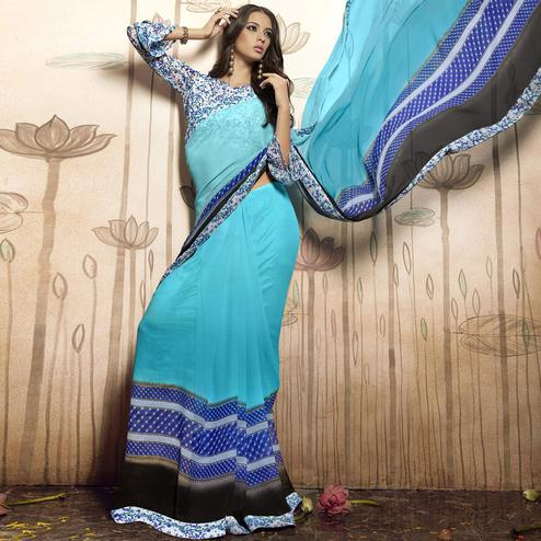 Glorious Sky Blue Colored Casual Printed Art Silk Saree