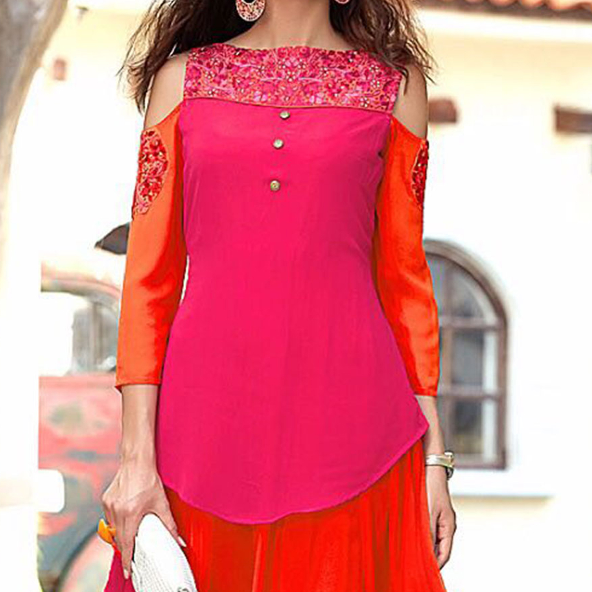 Mesmerising Pink-Orange Designer Embroidered Georgette Kurti