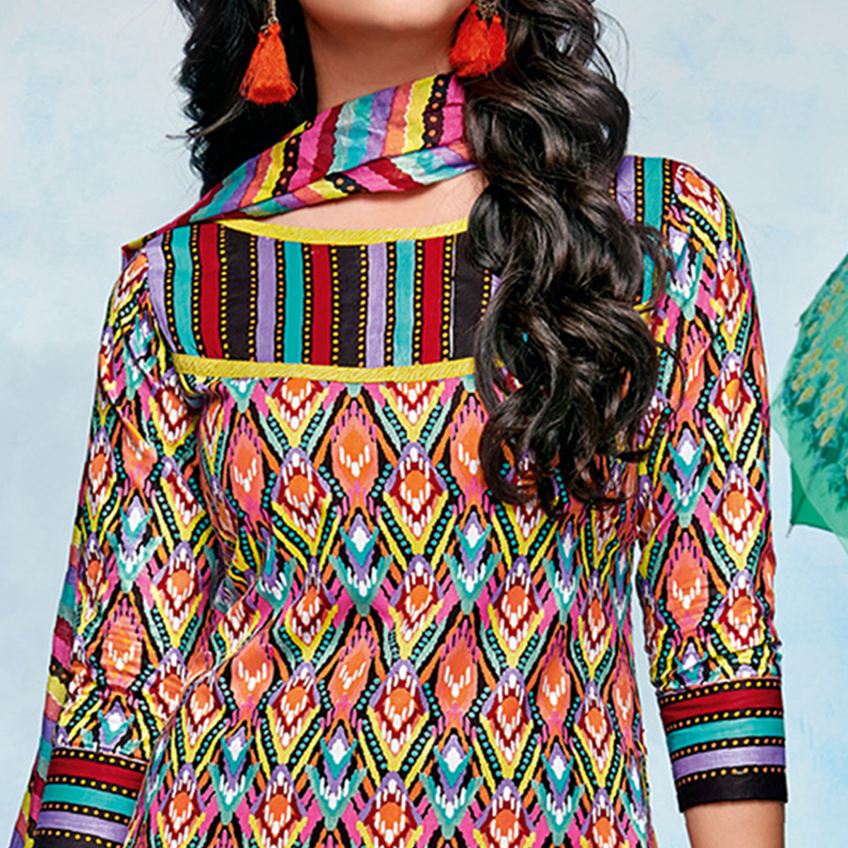 Pleasant Multicolored Casual Printed Cotton Dress Material