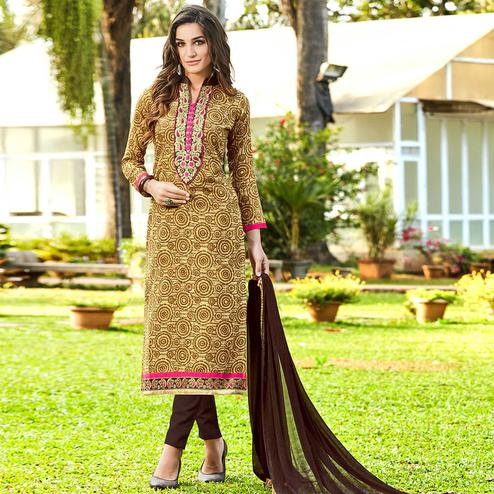 Elegant Beige Colored Casual Printed Cotton Dress Material