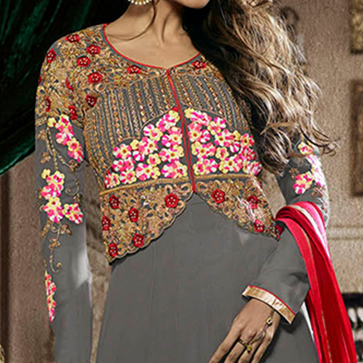 Alluring Grey Colored Party Wear Embroidered Georgette Anarkali Suit