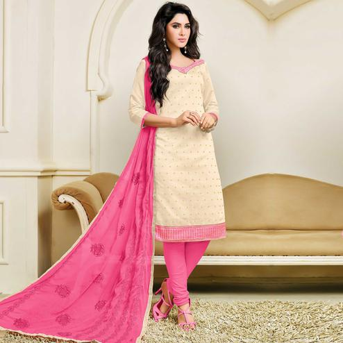 Radiant Off White Colored Party Wear Embroidered Chanderi Dress Material