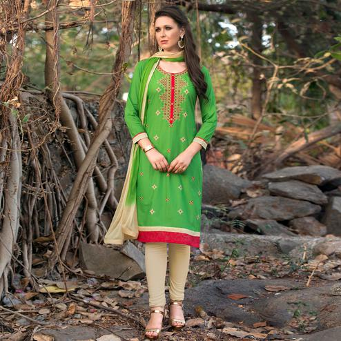 Sensational Green Colored Casual Embroidered Cotton Dress Material