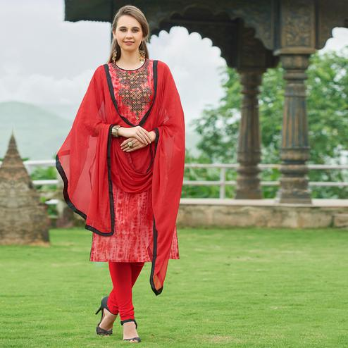 Opulent Red Colored Casual Wear Embroidered Cotton Suit