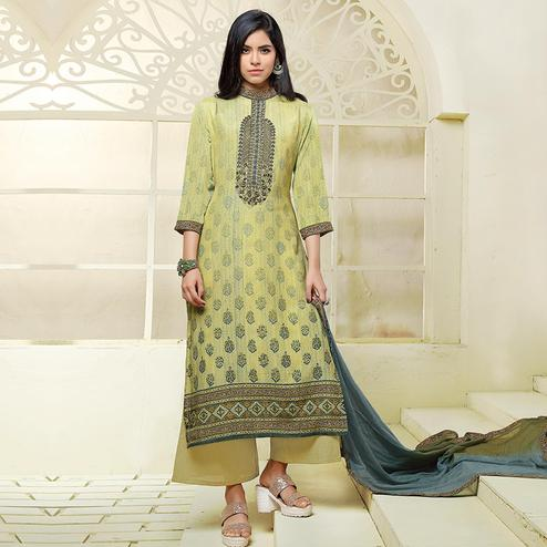 Breathtaking Green Colored Casual Printed Art Silk Cotton Dress Material