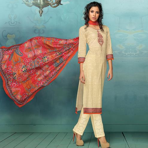 Innovative Cream Colored Casual Printed Art Silk Cotton Dress Material