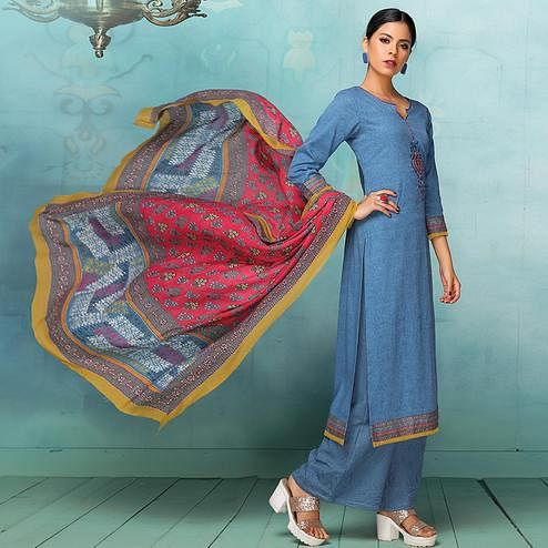 Gleaming Blue Colored Casual Embroidered Art Silk Cotton Dress Material