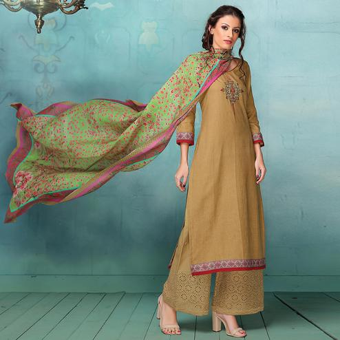 Arresting Beige Colored Casual Embroidered Art Silk Cotton Dress Material