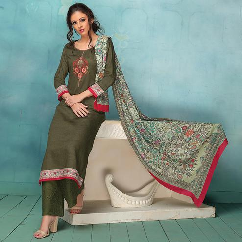 Exceptional Dark Mehendi Green Colored Casual Embroidered Art Silk Cotton Dress Material