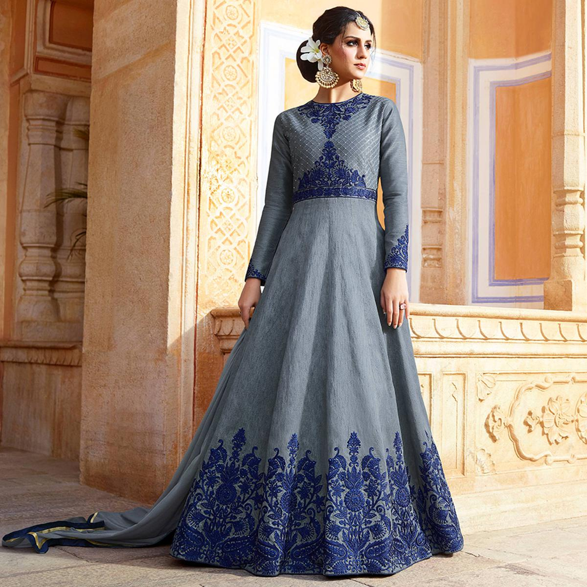 Excellent Grey Colored Party Wear Embroidered Art Silk Anarkali Suit