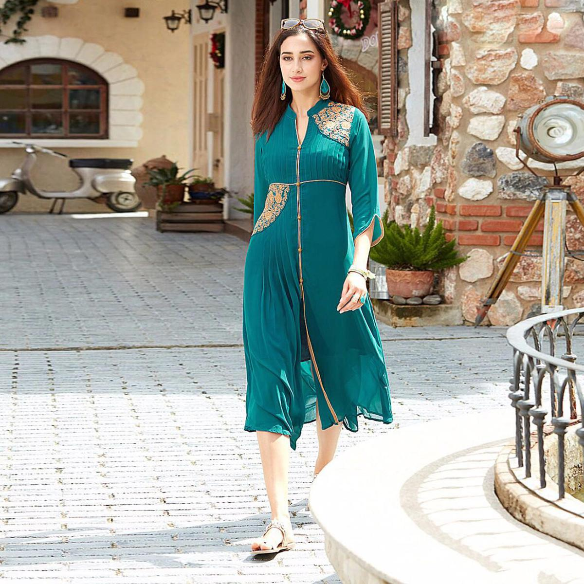 Gorgeous Green Designer Embroidered Georgette Kurti