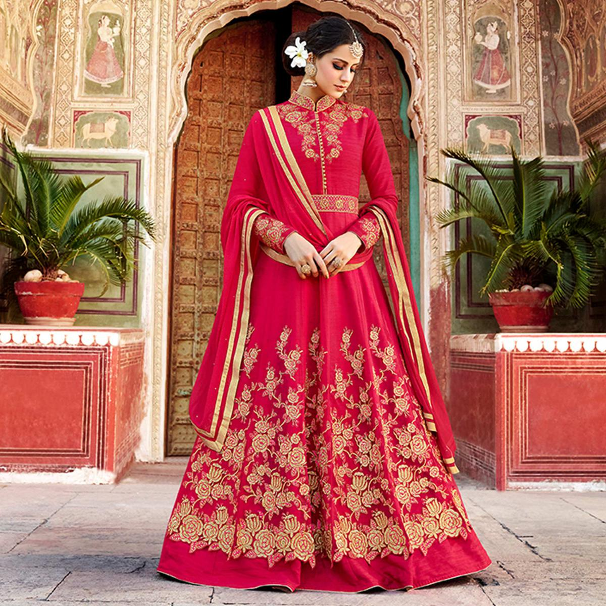 Ethnic Red Colored Party Wear Embroidered Art Silk Anarkali Suit