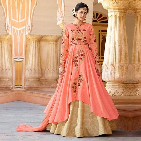 Starring Peach Colored Party Wear Embroidered Art Silk Lehenga Kameez