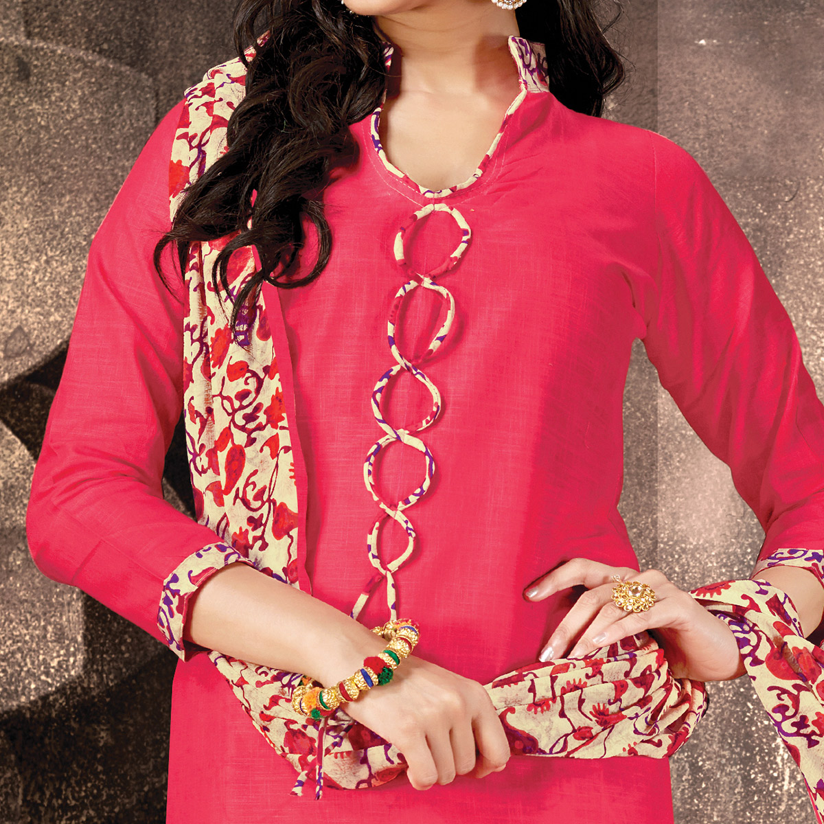 Energetic Pink Colored Casual Printed Cotton Dress Material