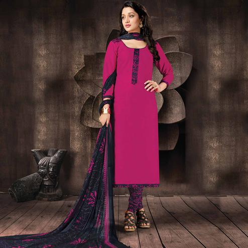 Mesmeric Magenta Pink Colored Casual Printed Cotton Dress Material