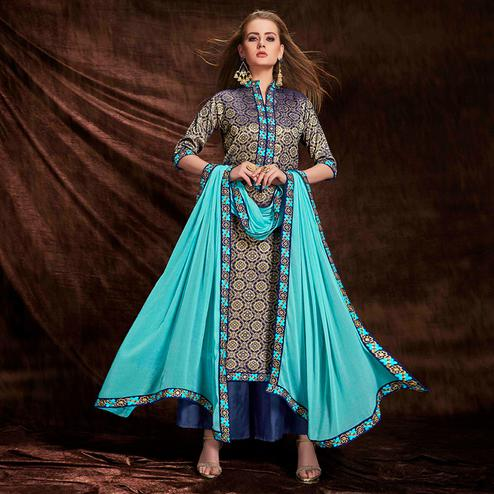 Flaunt Blue-Golden Colored Party Wear Embroidered Banarasi Silk Jacquard Palazzo Suit