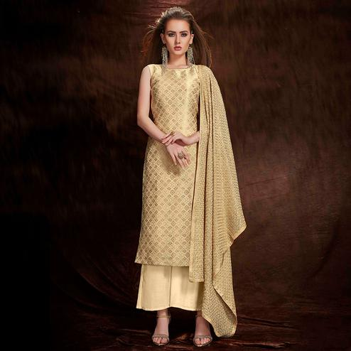 Flamboyant Beige Colored Party Wear Embroidered Banarasi Silk Jacquard Palazzo Suit