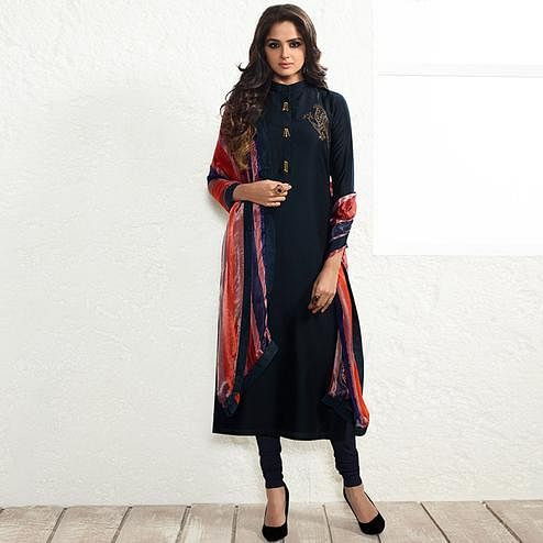 Classy Navy Blue Colored Party Wear Embroidered Muslin Cotton Silk Suit