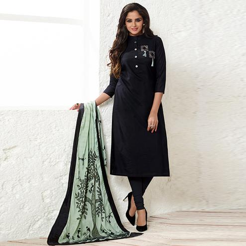 Preferable Black Colored Party Wear Embroidered Muslin Cotton Silk Suit