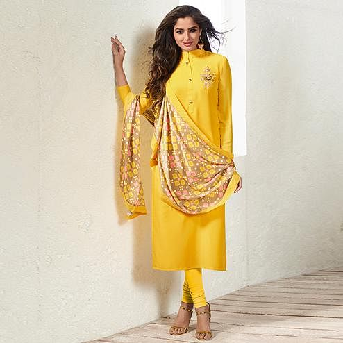 Surpassing Yellow Colored Party Wear Embroidered Muslin Cotton Silk Suit