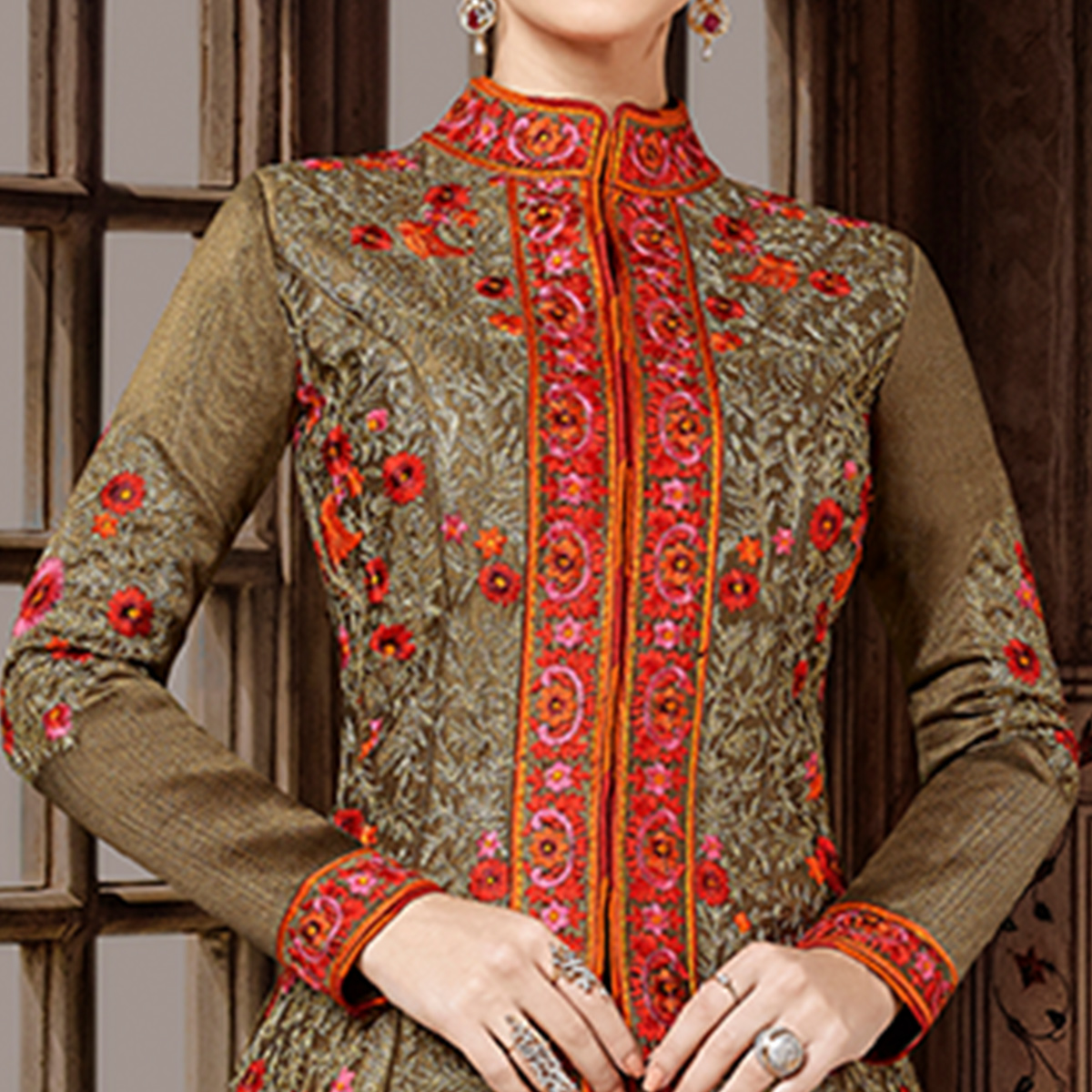 Blissful Brown Colored Party Wear Embroidered Art Silk Lehenga Kameez