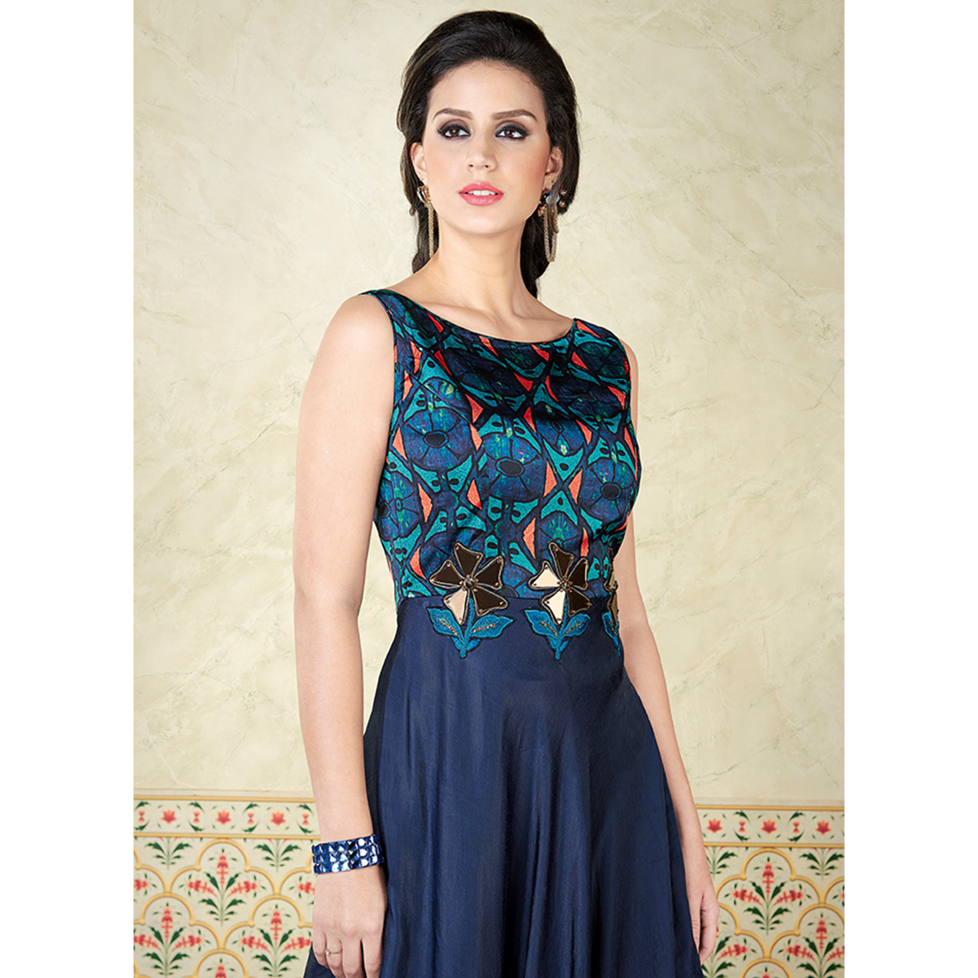 Ideal Navy Blue Colored Party Wear Embroidered Satin Anarkali Suit