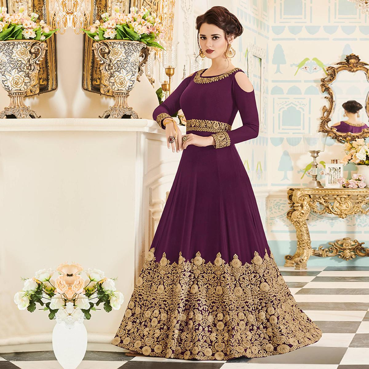 Staring Wine Colored Party Wear Embroidered Velvet Anarkali Suit