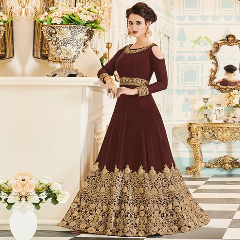 Pleasance Brown Colored Party Wear Embroidered Velvet Anarkali Suit